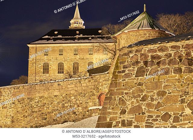 The Akershus Fortress at the first light of dawn. Oslo. Norway