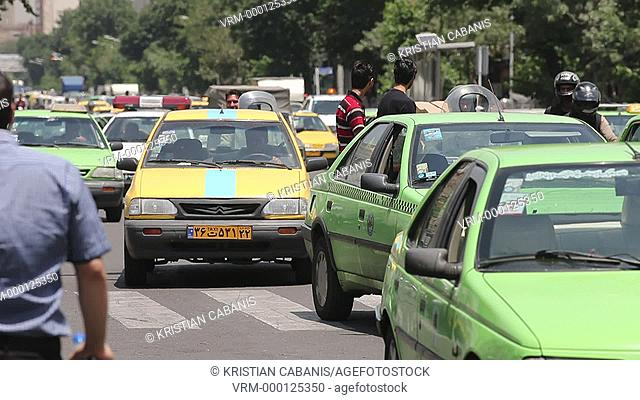 Traffic with taxis in Tehran, Iran, Asia