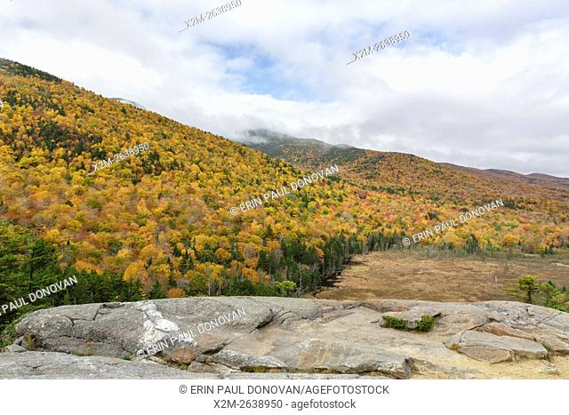 View from Elephant Head during the autumn months. This is a scenic overlook along the Webster Jackson Trail in the White Mountains, New Hampshire USA