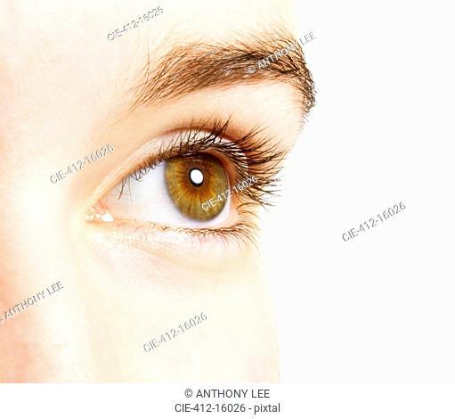 Extreme close up of hazel eye