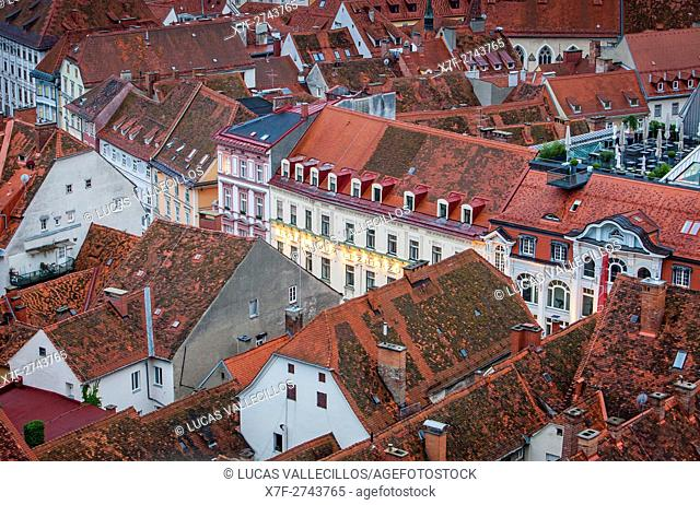 Roofs of the city, view from Schlossberg, castle mountain, Graz, Austria