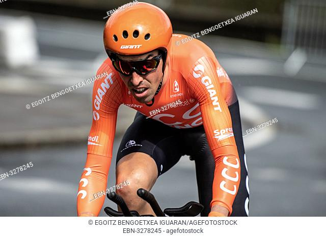 Victor de la Parte at Zumarraga, at the first stage of Itzulia, Basque Country Tour. Cycling Time Trial race