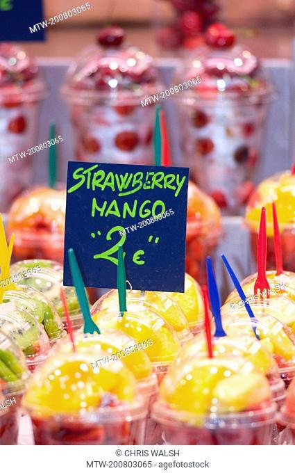 Fresh fruit cups Sant Josep Mercat market stall