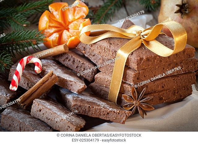 Closeup of mostaccioli, traditional biscuits made in Naples with the occasion of winter holidays. Similar to gingerbread, mostaccioli are made with flour