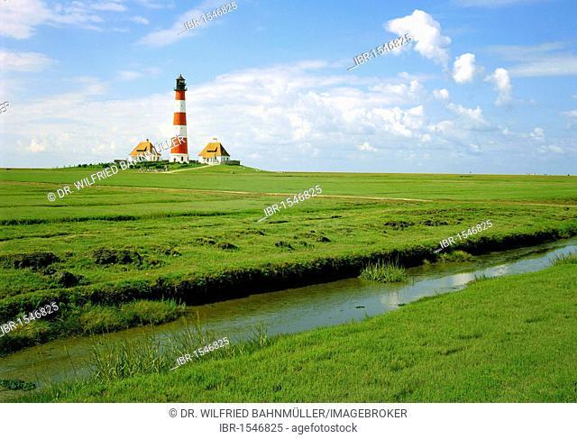 Westerhever lighthouse, Schleswig-Holstein, Germany, Europe