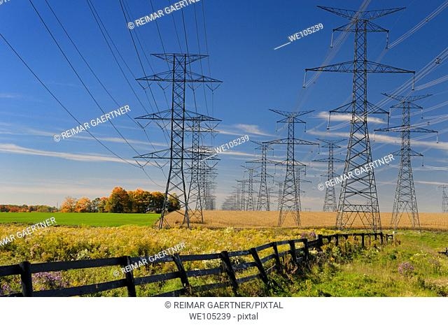Hydro towers from the Pickering Nuclear Power Plant running through farm fields of Ontario