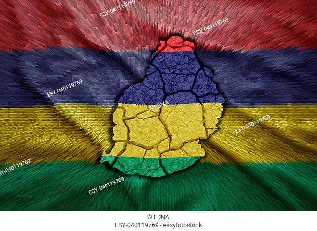 Map of Mauritius in National flag colors
