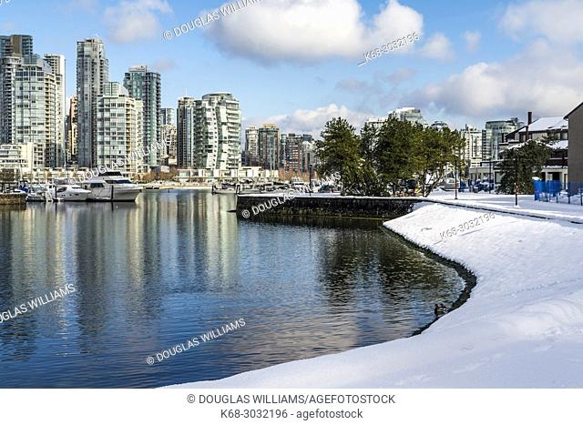 False Creek with snow in Vancouver, BC, Canada