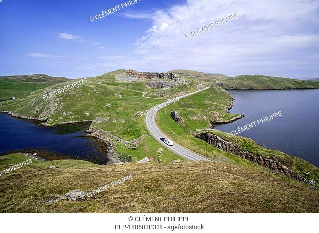 Aerial view over the Mavis Grind, narrow isthmus joining the Northmavine peninsula to the rest of the Mainland, Shetland Islands, Scotland, UK