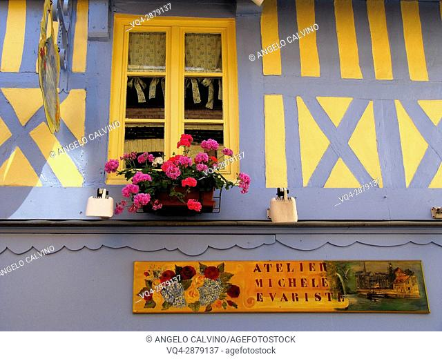 Detail of a local Art Gallery, old town of Honfleur, Calvados, Normandy, France.
