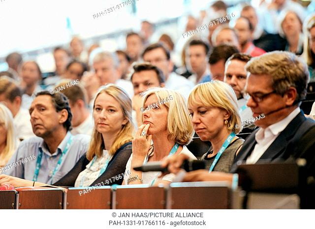 BAYREUTH/GERMANY - JUNE 21: Students and Participants listens to a speaker during the DLD Campus event at the University of Bayreuth on June 21th