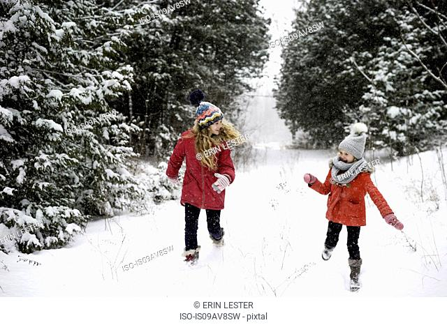 Sisters playing in snow
