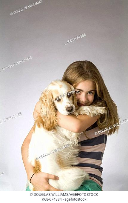 twelve year old girl with cocker spaniel