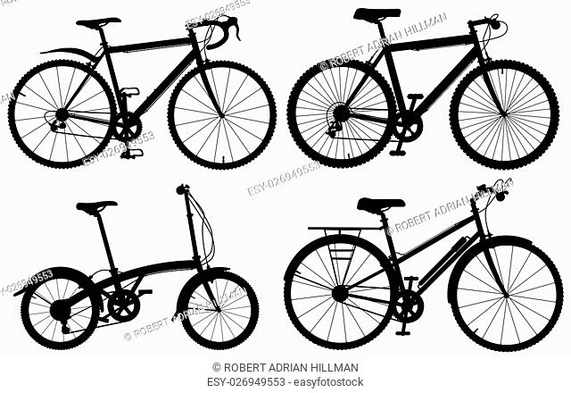 Set of detailed editable vector generic bicycle silhouettes