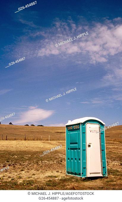 Portable toilet. Town of Cambria. Big Sur. California. USA