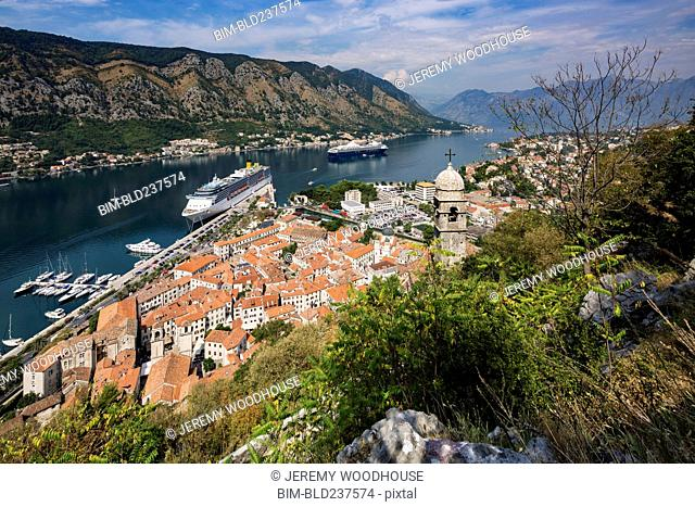 Cruise ship at waterfront, Kotor, Province of Dalmatia, Montenegro