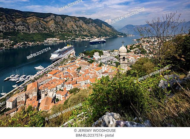 Cruise ship at waterfront, Kotor, Province of Dalmatia, Montenegro