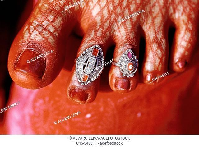 Woman's foot, Varanasi. Uttar Pradesh, India