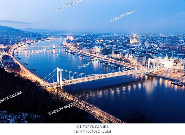 Waterfront cityscape with illuminated Elisabeth Bridge
