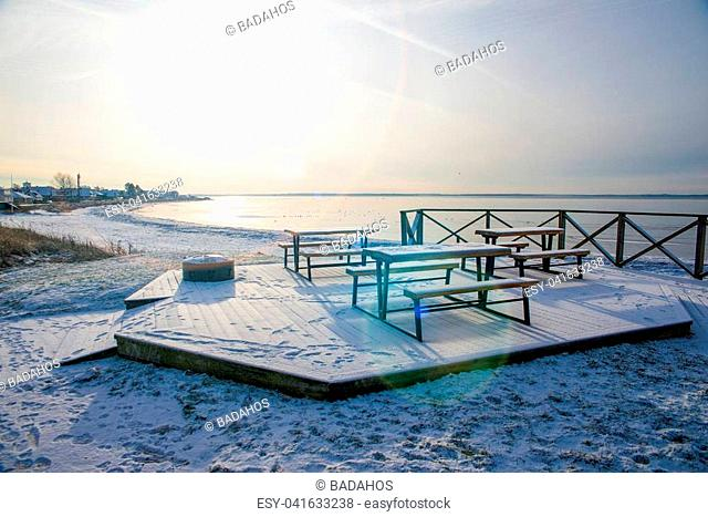 empty bench on the beach