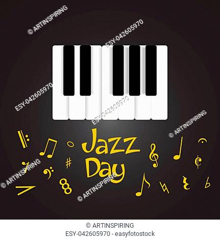 Jazz day greeting card with musical instruments