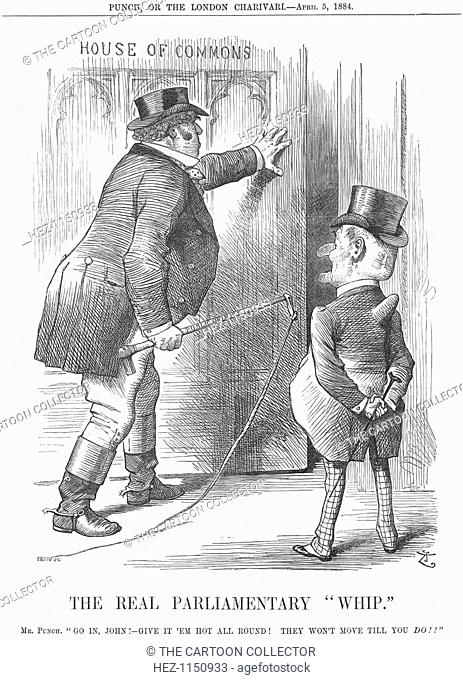 'The Real Parliamentary Whip', 1884. Mr Punch encourages Mr John Bull as, armed with a whip labelled 'public opinion' he heads in a determined fashion for the...
