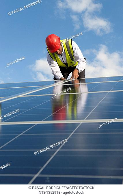Construction of solar panels for production of renewable electrical energy in the site of 'Puits Castan' old mine, Villaniere Aude Languedoc-Roussillon France