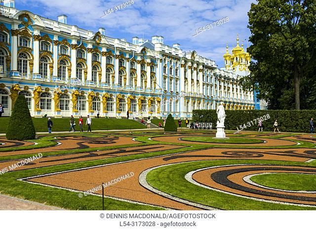 "Catherine's Palace at Pushkin St Saint Petersburg, Russian Sankt Peterburg, formerly (1914â. ""24) Petrograd and (1924â. ""91) Leningrad, city and port"