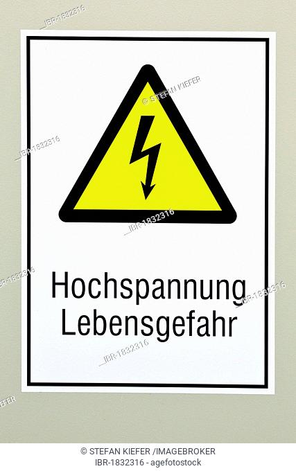Warning sign, Hochspannung Lebensgefahr or danger high voltage
