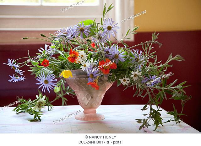 Flowers in vases and an English Garden