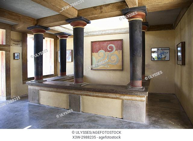 reconstruction of the Court of the stone spout with copies of Minoan frescoes, Knossos palace archaeological site, Crete island, Greece, Europe