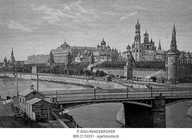 The Kremlin in Moscow, Russia, historical engraving, 1883