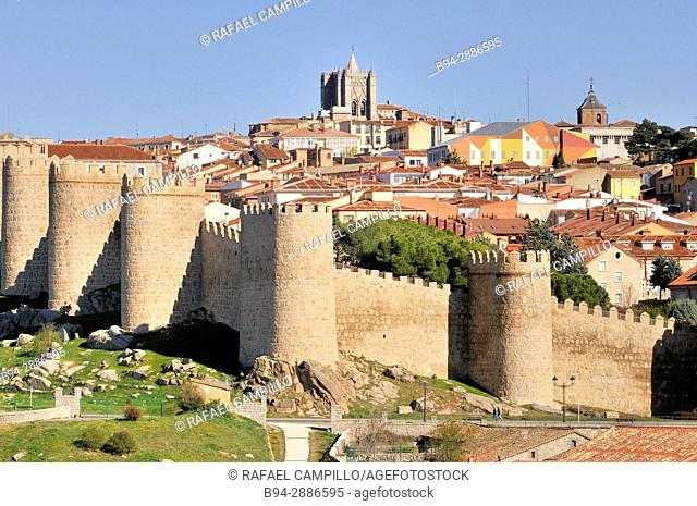 Medieval City Walls, Avila, Castile and Leon, Spain. UNESCO World Heritage Site