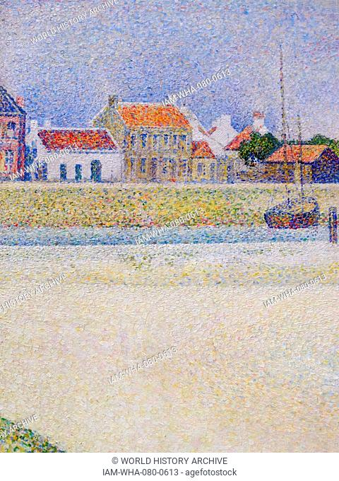 Painting titled 'The Channel of Gravelines, Grand Fort-Philippe' by Georges-Pierre Seurat (1859-1891) a French post-Impressionist painter and draftsman