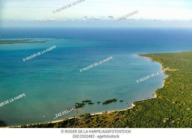 Aerial views of costline to the noth of Pemba. Mozambique