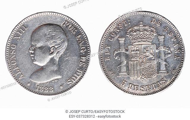 Alfonso XIII, five pesetas, un duro, 1888,Spain