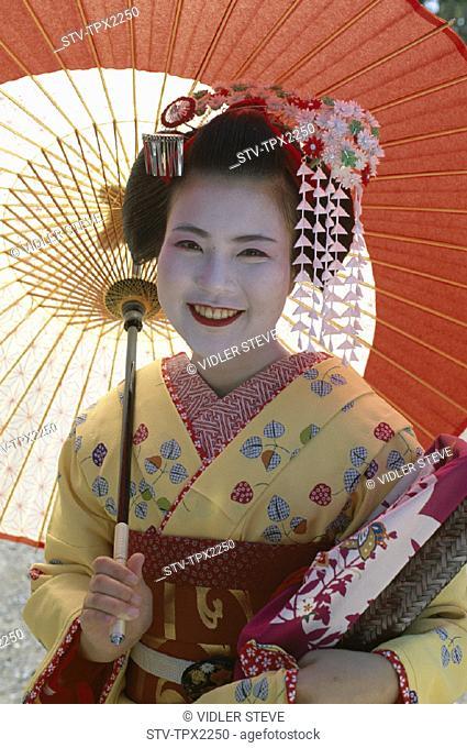Apprentice, Asia, Geisha, Holiday, Honshu, Japan, Kimono, Kyoto, Landmark, Maiko, Model, Released, Tourism, Traditional costume