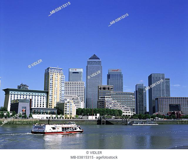 Great Britain, England, London,  Dock country, Canary Wharf, skyline,  Thames, trip boat,  Series, capital, ehem.  Waterfronts, river, business quarters