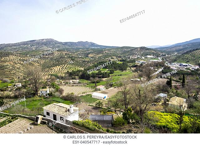 View to the orchards and olive groves from the balcony of the Adarve in the neighborhood of the villa in the city of Priego de Cordoba in Andalucia in southern...