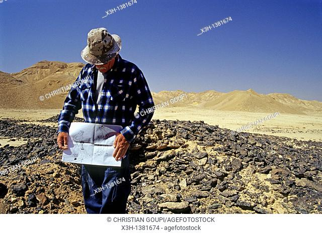 guide showing a sketch explaining the process on a copper production site in the Timna Valley, Negev, Israel, Middle East, Western Asia