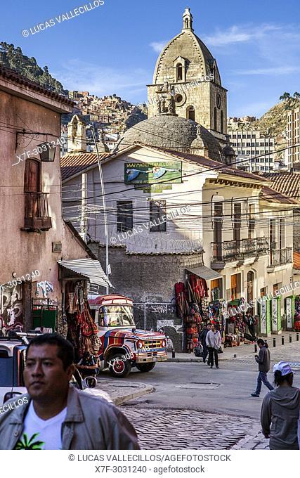 Calle Sagarnaga, in background San Francisco church , La Paz, Bolivia