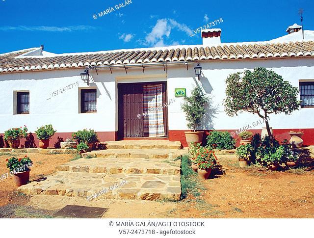 Facade of rural house. Ciudad Real province, Castilla La Mancha, Spain