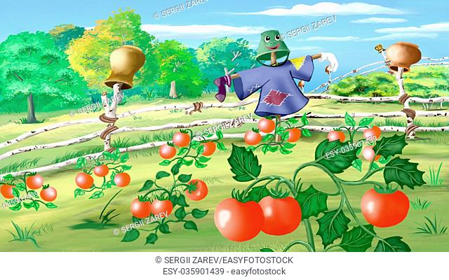 Digital painting of the Rural landscape with Scarecrow in a Kitchen Garden