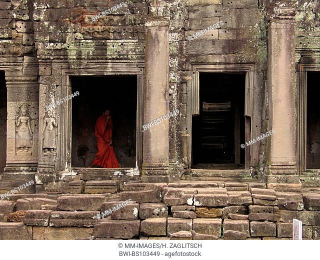 buddhistic monk at the Khmer temples of Angkor Wat, Cambodia, Angkor