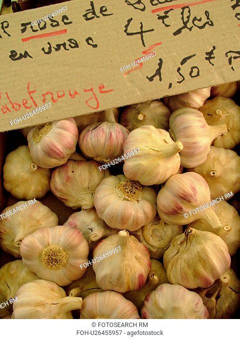 France, Lyon, Rhone-Alpes, Europe, downtown, City Market, garlic