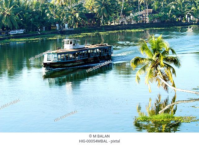 BACKWATERS OF NEDUMUDI IN ALAPPUZHA DIST, TRANSPORT DEPENDS ON COUNTRY BOATS AND TRANSPORT BOATS