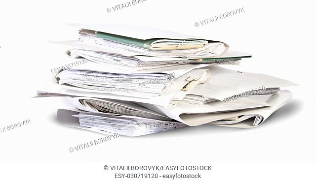 Pile of files in chaotic order rotated isolated on white background