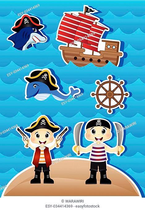 Pirates Cartoon for your design vector