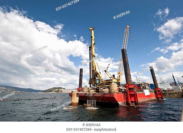 Working floating platform at Ria de Pontevedra, Galicia, Spain