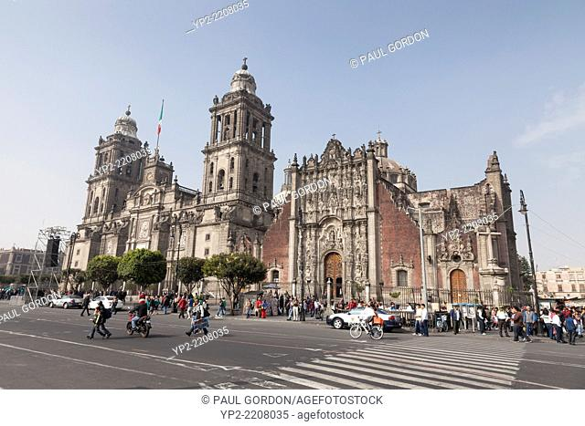 Mexico City Cathedral on the Zócalo - Centro Histórico, Cuauhtémoc, Mexico City, Federal District, Mexico. The formal name of the church is the Metropolitan...
